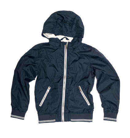 childrens wear: Childrens wear - blue jacket isolated over white backgroun Stock Photo