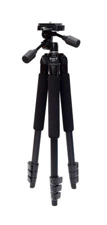 tiny lenses: photo tripod isolated on white background