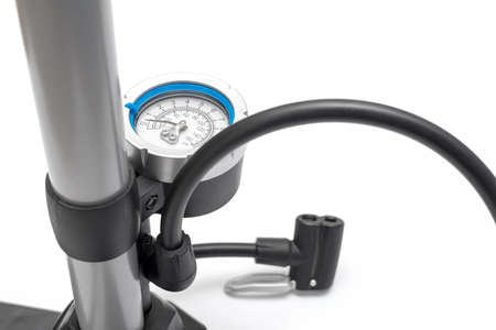 hydraulic hoses: Bicycle pump isolated on a white background