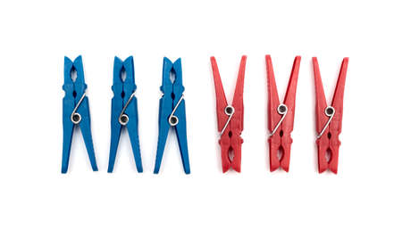 clothespeg: plastic clothes pegs on a white background Stock Photo