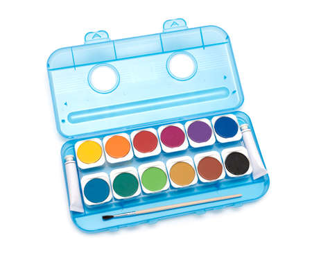 Simple watercolour paints palette, isolated over white