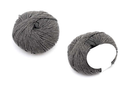 two skeins of thread for knitting on a white background 版權商用圖片