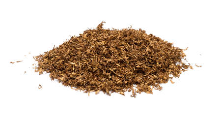 Heap of dry soft Pipe Tobacco top view on white Background