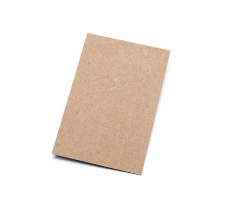 Brown Cardboard sheet of recycled paper gift cards on white background