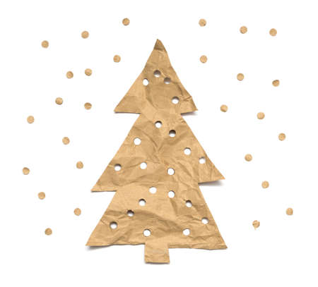 Christmas tree made of kraft paper on a white background 版權商用圖片