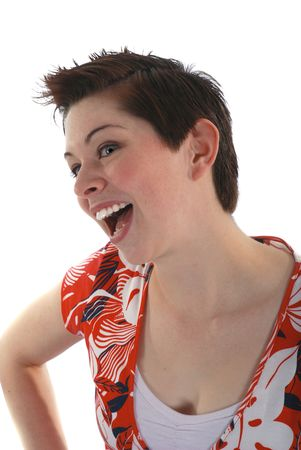 quirky: Quirky brunette on white Stock Photo