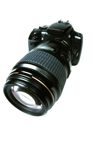 digicam: An SLR Camera with a large lens Stock Photo