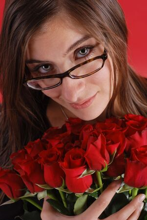 Beautiful woman with bouquet of roses Stock Photo - 1887000