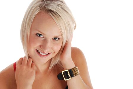 Casual beautiful blond, copyspace on the right. Stock Photo - 10214617