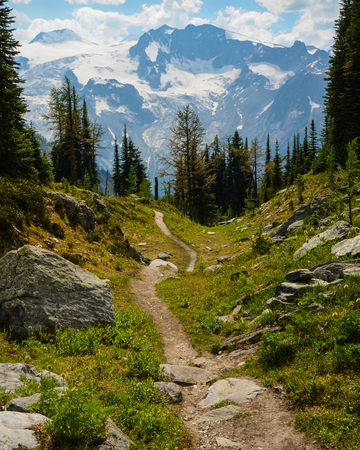 Jumbo Pass hiking trail, British Columbia, Canada. Purcell Mountains landscape with a glacier in the background.