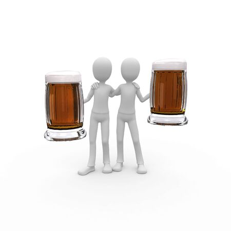 3d man with beer photo