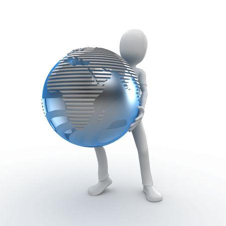 work worker workforce world: 3d man holfing globe