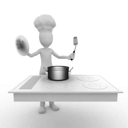 3d man with cooking surface photo