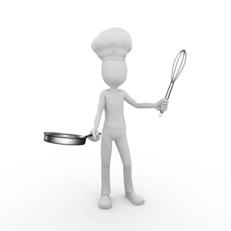 3d man with whysk and frying pan photo