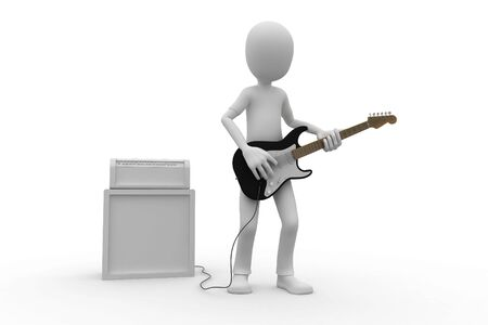amp: 3d man playing guitar with amp