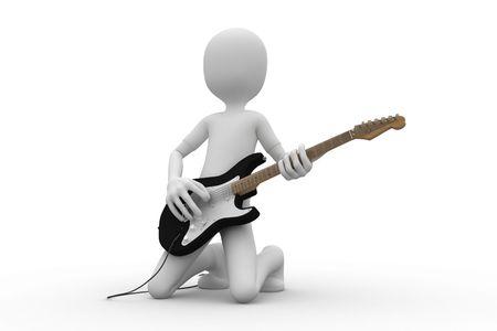 music figure: 3d man rocking his guitar on concert Stock Photo