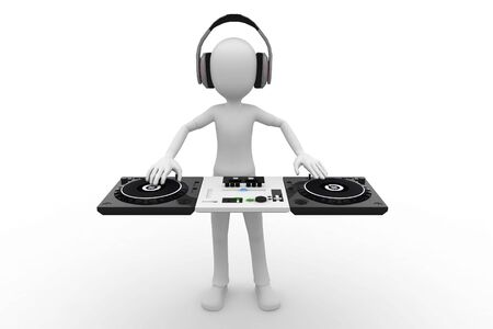 work popular: 3d man DJ mixing in session Stock Photo