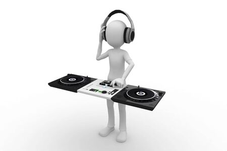 funky music: 3d man acting as a DJ mixing on console