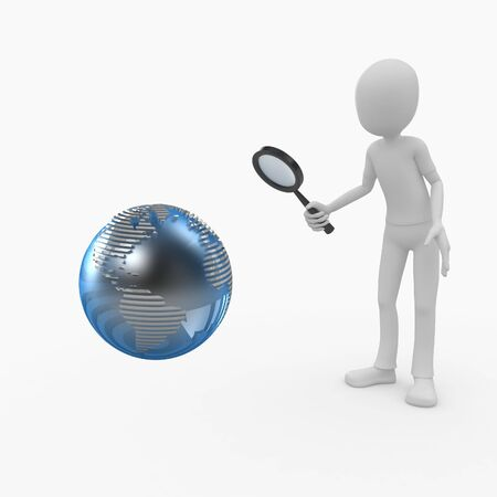 work worker workforce world: 3d man doing a global search Stock Photo