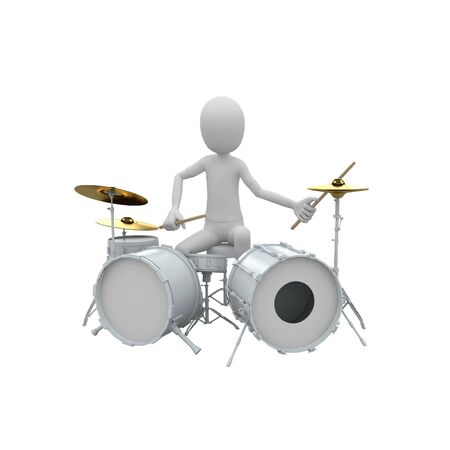 bass drum: 3d man playing drums
