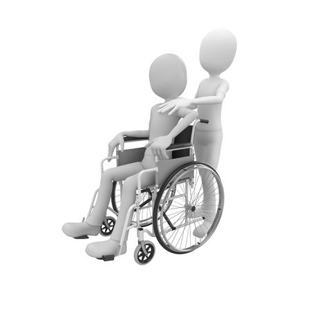 doctor and patient: 3d man pushing a wheel chair with patient