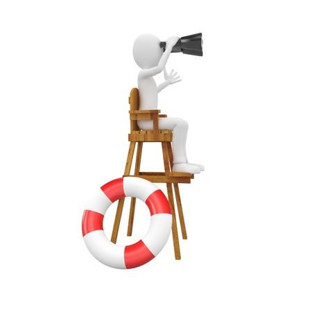 savers: 3d man lifeguard watching from high chair Stock Photo