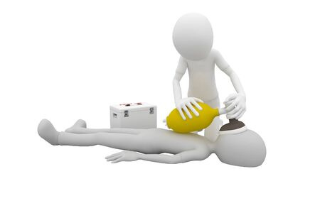 respiration: 3d man doing artificial respiration first aid Stock Photo