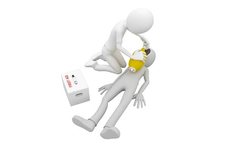 3d man doing artificial respiration first aid Stock Photo - 7558299