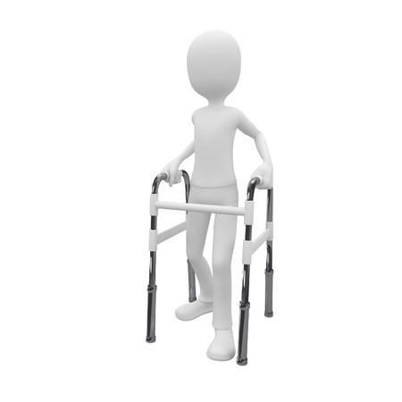 3d man using a walking frame as walk aid photo