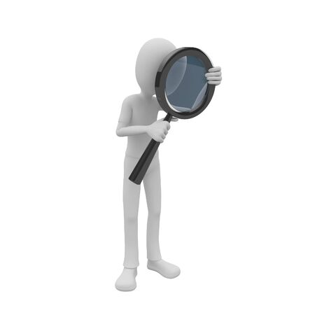 work worker workforce world: 3d man searching with big magnifying glass