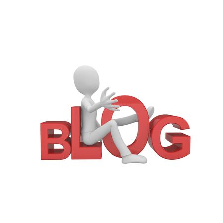3d man with red blog logo Stock Photo