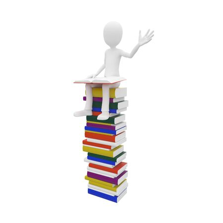 3d man sitting on top of the books Stock Photo - 7558309
