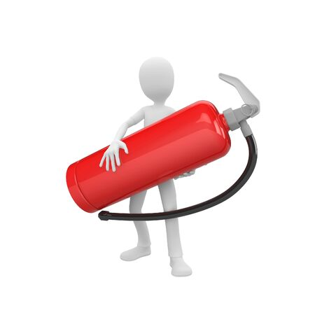 3d man holding a big red fire extinguisher photo