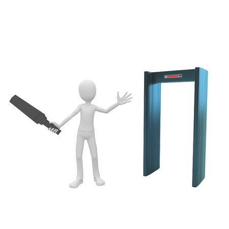 depart: 3d man security inspector at gate Stock Photo