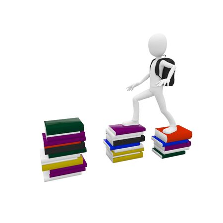 3d man climbing on top of the books Stock Photo - 7558310