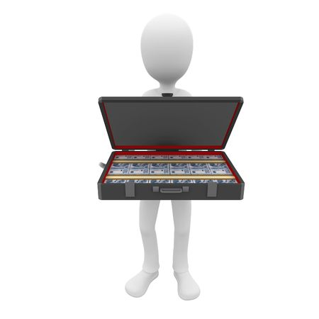 3d man businessman with suitcase full of cash Stock Photo - 7612483