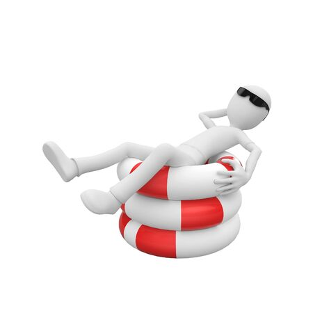 3d man relaxing in the sun on top of life buoys photo