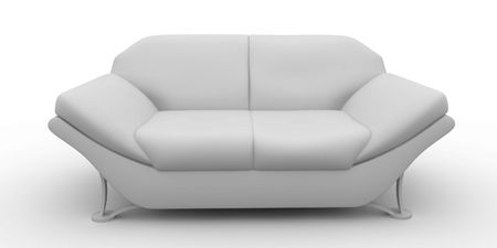 modern sofa: 3d furniture design detailed isolated on white