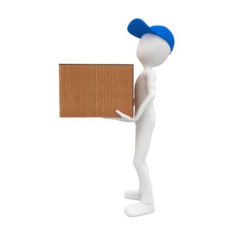 post man: 3d man post man delivery box  blue cap Stock Photo