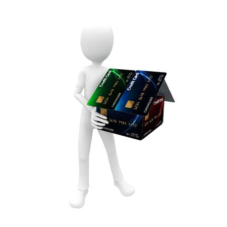 3d man with credit card house green,blue Stock Photo - 7612587
