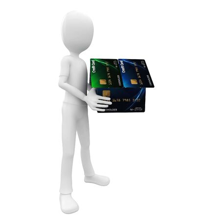 3d man with credit card house green,blue photo