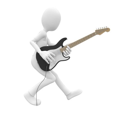 work popular: 3d man rocking his guitar in concert