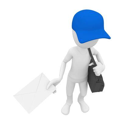 post man: 3d man post man delivery blue cap Stock Photo
