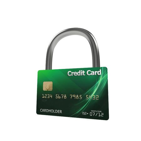 3d green credit card with security lock Stock Photo - 7612397