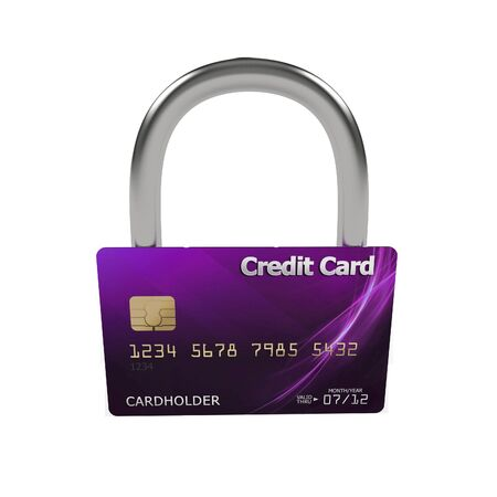 3d violet credit card with security lock Stock Photo - 7612389