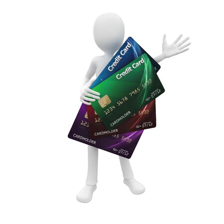 3d man with credit card house green blue red violet photo