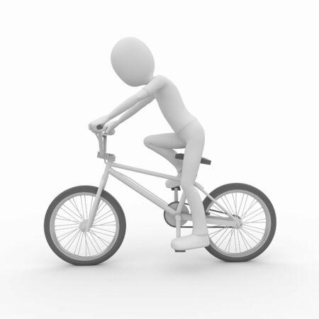 3d man with generic white stunt bike photo
