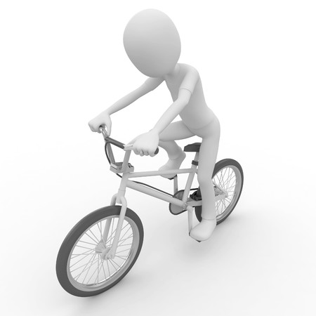 bicyclist: 3d man with generic white stunt bike Stock Photo