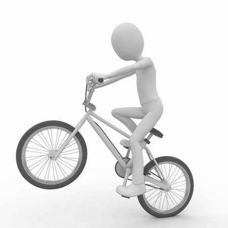 bicycle lane: 3d man with generic white stunt bike Stock Photo