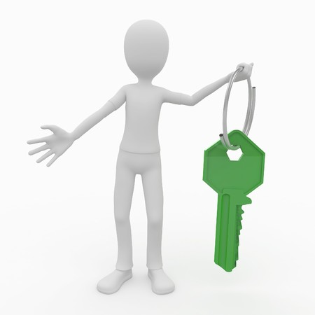 3d man with green key and ring Stock Photo - 7742160